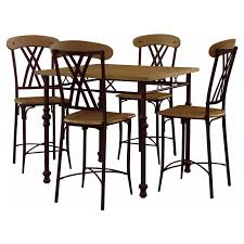 powell cowell 5 piece gathering height dining table set walmart com