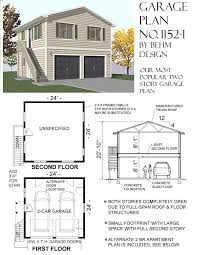 2 story garage plans with apartments 1152 1 24 4 x 24 2 car two story behm garage plansbehm