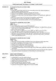 clerk warehouse resume sles velvet