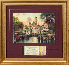 lot detail thomas kinkade disney print with vintage disneyland