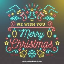 we wish you a merry neon background vector free