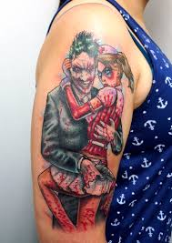 joker and harley quinn tattoo by matt curtis tribal body art