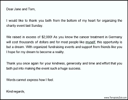 sample thank you letter for donation template templatezet