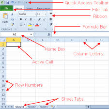 parts of the excel 2010 screen