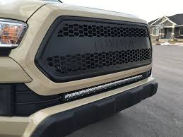 tacoma grill light bar rad industries black toyota letter grill on 2016 tacoma 2016