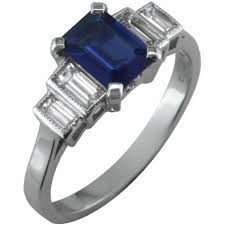 sapphire emerald cut engagement rings emerald cut sapphire ring with baguette diamonds