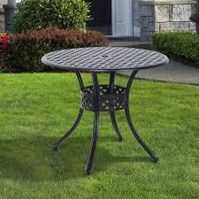 Black Cast Aluminum Patio Furniture Outsunny Round Cast Aluminum Outdoor Dining Table Black Pop Up