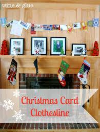 christmas card clothesline wine u0026 glue