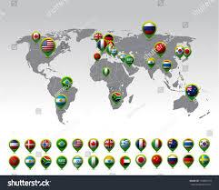 World Map Pins by World Map Pins Flags Vector Stock Vector 153882719 Shutterstock