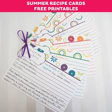printable recipes free free summer recipe card printables cute recipe cards for your