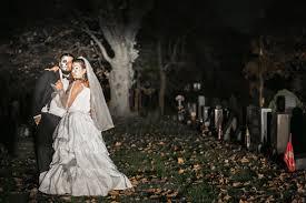cemetery engagement shoot halloween themed wedding weddingbee