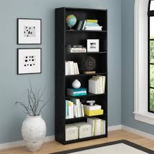 Shelves For Living Room Mainstays 6 Shelf Bookcase Black Ebony Ash Walmart Com