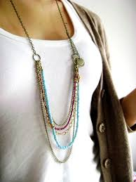 long bead chain necklace images Bohemian style turquoise purple long seed bead multi layered jpg