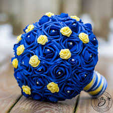 wedding flowers royal blue blue and yellow beauty and the beast wedding bouquet real touch