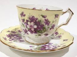 aynsley violette tea cup and saucer african violets cup tea set
