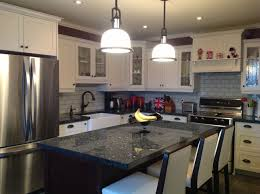 blue pearl granite countertop white bar stools pendant lights