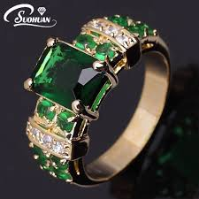 aliexpress buy fashion big size 18k gold plated men wholesale women gold ring green ip gold filled