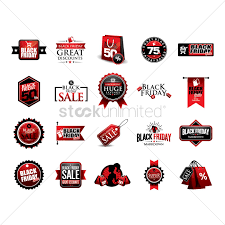 black friday sale sign set of black friday sale icons vector image 1819512 stockunlimited