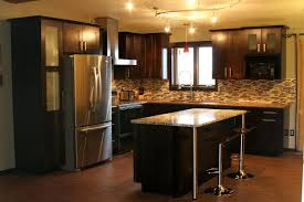 dark kitchen cabinets with black appliances tile countertops kitchen ideas with dark cabinets lighting