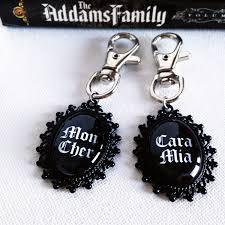 addams family mon cher cara mia keyring set couple gift idea