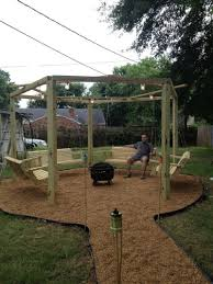 Porch Swing Fire Pit by How To Build Fire Pit Swing Set The Owner Builder Network