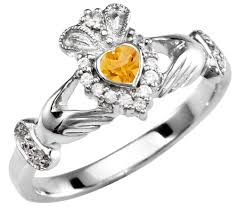 s birthstone ring citrine diamond silver claddagh ring november birthstone