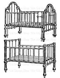 victorian baby crib clip art vintage printable furniture