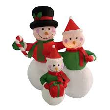 4 snowman family lighted yard decoration