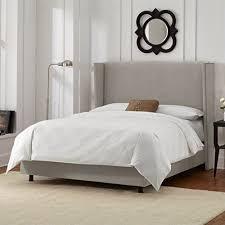 skyline furniture wingback bed in velvet light grey king