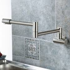 steel wall mounted kitchen faucet with single lever in brushed nickel