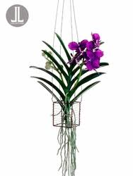 vanda orchid 15 silk vanda orchid artificial hanging plant in wire basket