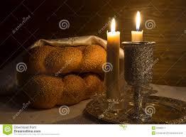 sabbath candles shabbat shalom wine challah and candles stock photo image