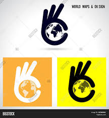 World Map Icon by Creative Hand And World Map Abstract Logo Design Hand Ok Symbol