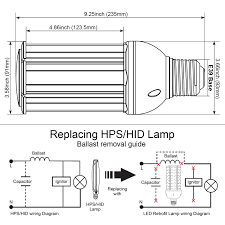 150w 200w hps hid mh or cfl equivalent 36w 54w led hid
