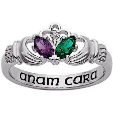 the claddagh ring personalized s birthstone and diamond accent sterling
