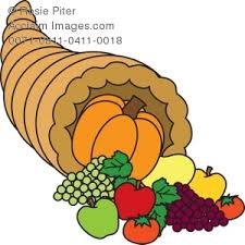 thanksgiving cornucopia horn with fruits and vegetables royalty