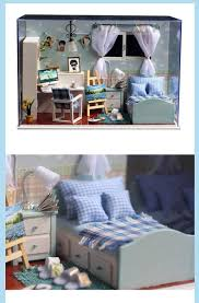diy miniature dream bedroom led doll house box home decoration