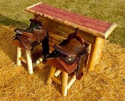 rustic log western bar stool with horse saddle decofurnish
