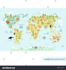 vector illustration world map children gentle stock vector