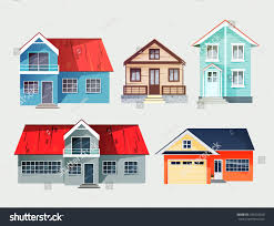 set colorful cottage houses flat buildings stock vector 436203550