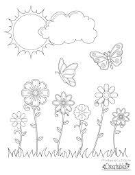 spring flowers u0026 butterflies printable coloring page
