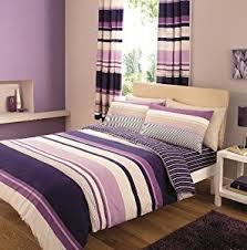 contemporary striped duvet cover purple u0026 cream bedding king