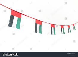 Colors Of Uae Flag Isolated Image Hanging Uae Flag Buntings Stock Photo 498891331