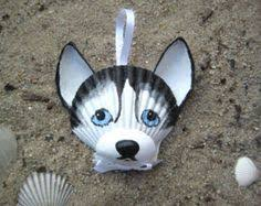 black and white husky ornament painted seashell ornament