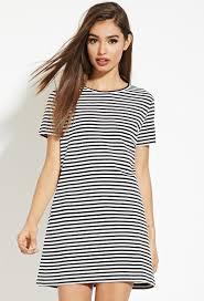 forever 21 striped mini t shirt dress in black lyst