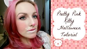 pretty pink and white kitty halloween makeup tutorial youtube