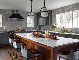dark gray kitchen cabinets with gray mosaic tiles contemporary