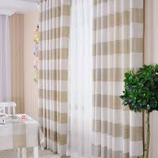 Beige And White Curtains Country Linen And Cotton Blended Striped Curtains Buy Khaki Eco