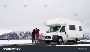 travelling couple mobile motor home rv stock photo 308014220