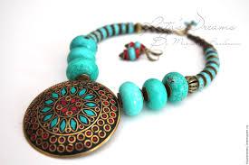 turquoise tibetan necklace images Tibetan necklace turquoise large pendant with coral turquoise jpg